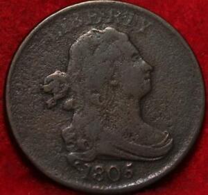 1805 Philadelphia Mint Copper Draped Bust Half Cent