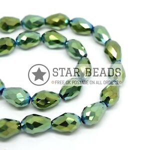 FACETED TEARDROP CRYSTAL GLASS BEADS PICK METALLIC COLOUR - 4X6 8X11 10X15MM