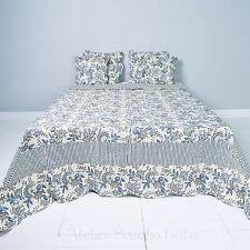 Clayre & Eef Quilt Tagesdecke Bettüberwurf 180cm x 260cm Floral Blau Landhaus