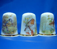 Birchcroft Thimbles -- Set of Three -- Woodland Birds