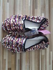Damen ESPADRILLES Pantoffeln Slipper Pailletten bunt silber lila ... Gr. 37 NEU