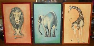 FUNKY 1960'S 3 COLOUR CO-ORDINATED FRAMED ZOO ANIMAL PRINTS SIGNED R.BREER IN GC