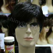 New Fashion 100% Real Human Hair Full Wig Short Straight  Mens Color Black