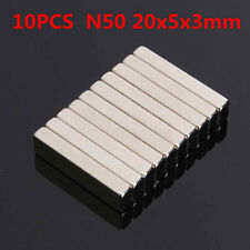 10Pcs 20x5x3mm N50 Strong Block Magnets Rare Earth Neodymium Cuboid Cube Magnets