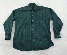 Gitman Bros Mens Green Black Plaid Checks Cotton Button Front Shirt Size Large L