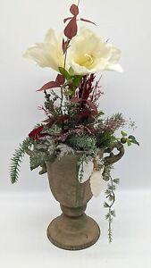 Wintergesteck Winterdekoration Weihnachtsgesteck Blumenarrangement Pokal Amar...