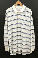 BROOKS BROTHERS Men's White/Blue Striped Long Sleeve Performance Polo Shirt 2XL