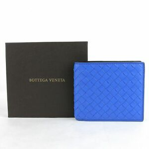 Bottega Veneta Men's Blue/Black Leather Woven Bifold Wallet 113993 4365