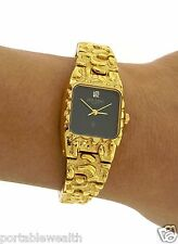 Pierre Bideaux Diamond Ladies Gold look Watch Nugget Black Face YG Plated