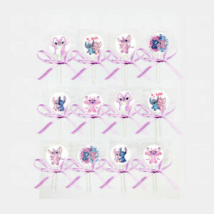 Angel & Stitch Lollipops Party Favors Supplies Suckers with Pink Ribbon - 12 pcs