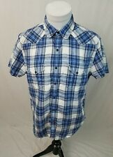 LUCKY BRAND Blue White Plaid S/S 100% LINEN Western Pearl Snap Shirt Medium EUC