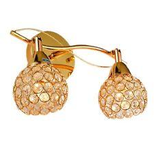Crystal Wall Sconce 2 Lights Fixture Electric Gold Lamp Bathroom Hallway Bedroom