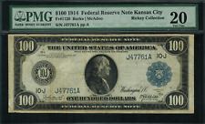 1914 $100 Federal Reserve Note Kansas City FR-1120 - Graded PMG 20 - Very Fine