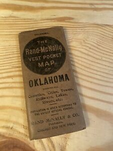 The Rand-Mcnally Vest Pocket Map Of OKLAHOMA Showing All Counties, Cities, 1912