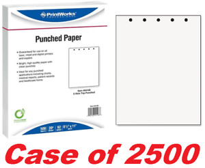 """Printworks professional Punched Copy Paper 8.5"""" x 11"""" Top 5 Hole Punch CASE/2500"""