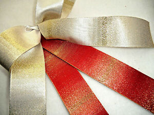 1 mtr 40mm QUALITY,WIRED CHRISTMAS RIBBON,RED / IVORY SHIMMER GOLD, METALLIC
