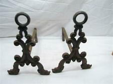 Antique Architectural Iron Fireplace Sconce Dragon Decoration Victorian Andirons