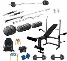 Protoner  52 Kgs + 5 In 1 Bench Weight Lifting Home Gym Fitness Package