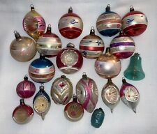 21 Vintage & Antique Hand Painted MERCURY GLASS Christmas Ornaments Indent