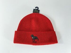 Polo Ralph Lauren French Bulldog Dog Knit Beanie Toque Hat Red NWT One Size