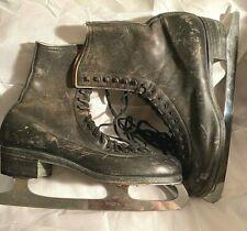 Vintage Oberhamer Black Leather Vintage Figure Ice Skates Size 8
