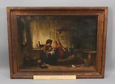 19thC Antique HEINRICH STELZNER German Genre Oil Painting, Mother w/ Children NR