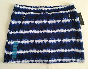 NWT JONES NEW YORK SIGNATURE Womens size XL  Blue White Tie Dye Skort