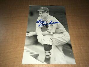 Lou Boudreau Cleveland Indians HOF Signed Brace Postcard W/Our COA