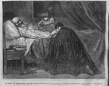LA MORT DE CHRISTOPHE COLOMB TABLEAU DE ROBERT-FLEURY GRAVURE IMAGE 1866