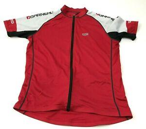 Louis Garneau Cycling Jersey Size Medium M Red White Shirt Short Sleeve Full Zip