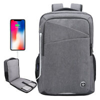 Swiss Digital Micro Men's USB-Charging Heather Grey Laptop Backpack SD-839