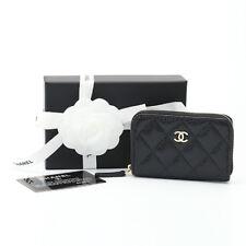Authentic CHANEL CC Caviar  Zip Around Coin Purse Wallet A69271 BLACK TAKSE AU