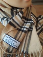 CROFT & BARROW made in Germany acrylic scarf brown tan plaid fringe edge unisex