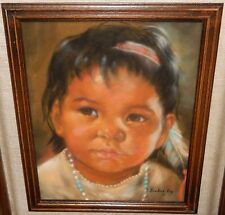 ARLENE HOOKER FAY INDIAN GIRL ORIGINAL PASTEL ON PAPER PAINTING DATED 1971