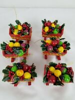 Vintage 1977 Kurt S Adler Wood Baby Cradle Filled With Fruit Ornaments Set of 6