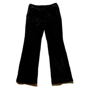 Ann Taylor Loft Petites Women's Size 8 P Black Suede Pants Leather Trim Pockets