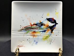 """Big Sky Carvers Chickadee Stoneware Snack Plate 7"""" by Dean Crouser Collection"""