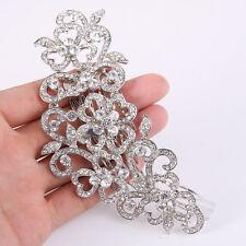 Wedding Bridal Leaf Heart Flower Hair Comb Tiara Clear Austrian Crystal Art Deco