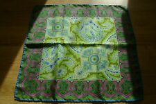 "Hand made Macclesfield silk pocket square 17"" lime green Paisley hand rolled"