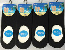 12 Pairs Fresh Feel Anti Slip Ladies Womens Cotton Invisible Socks UK 4-7 L10802 Black