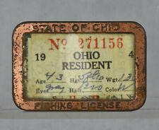 VTG Paper 1941 State of Ohio Resident Fishing License In Metal Pinback Holder