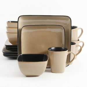 Everyday Rave Square 16-Piece Dinnerware Set, Taupe, Easy to clean