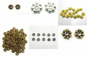 DOTTED FLOWER DAISY ROUND SPACER ANTIQUE STERLING SILVER PLATED 18K GOLD PLATED