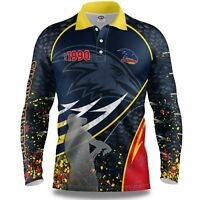 AFL 2020 Long Sleeve Fishing Polo Tee Shirt - Adelaide Crows - Adult Youth