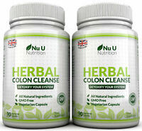 Herbal Colon Cleanse 90 Capsules x 2 Bottles 11 Active Ingredients Detox Nu U