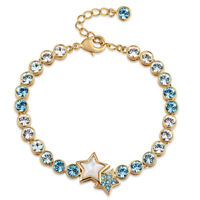 Fashion Zirconia Rhinestone Aquamarine 18K Yellow Gold Plated Tennis Bracelet