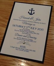 50 Handmade Personalised Wedding Evening Invitations vintage anchor nautical