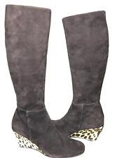 Gagliano Fine Italian Knee High Heels Suede Leather Fur Boots Women's Sz 40 ECU