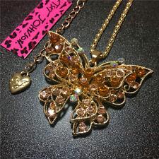 Orange Rhinestone Cute Butterfly Animal Betsey Johnson Pendant Chain Necklace
