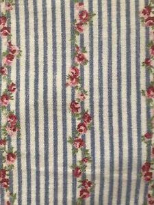 Rachel Ashwell Treasures Rose Floral Pinstripe Blue King Flannel Pillowcases